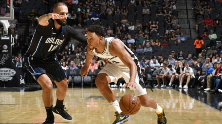SAN ANTONIO, TX - OCTOBER 5: Bryn Forbes #11 of the San Antonio Spurs drives to the basket against the Orlando Magic during the preseason on October 5, 2019 at the AT&T Center in San Antonio, Texas. NOTE TO USER: User expressly acknowledges and agrees that, by downloading and or using this photograph, user is consenting to the terms and conditions of the Getty Images License Agreement. Mandatory Copyright Notice: Copyright 2019 NBAE (Photos by Logan Riely/NBAE via Getty Images)