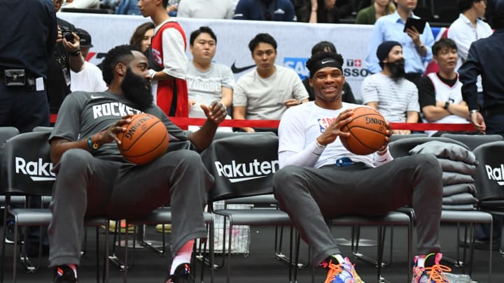 James Harden and Russell Westbrook of the Houston Rockets. (Photo by Garrett W. Ellwood/NBAE via Getty Images)