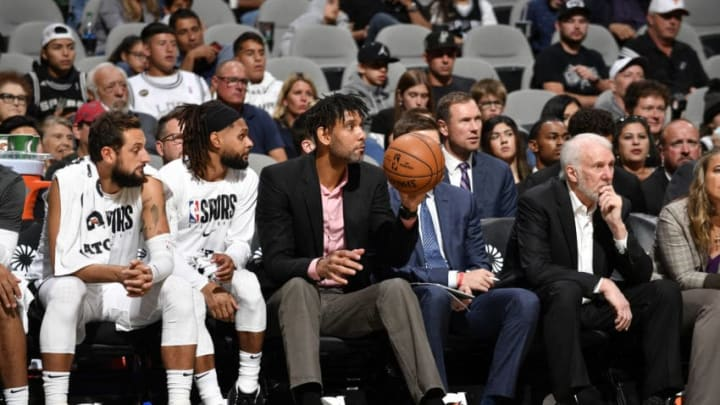 Assistant Coach Tim Duncan of the San Antonio Spurs. (Photos by Logan Riely/NBAE via Getty Images)