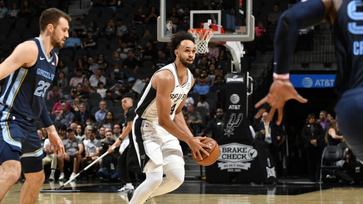 Derrick White of the San Antonio Spurs handles the ball. (Photos by Logan Riely/NBAE via Getty Images)