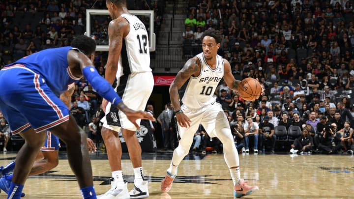 SAN ANTONIO, TX – OCTOBER 23: DeMar DeRozan #10 of the San Antonio Spurs dribbles the ball against the New York Knicks on October 23, 2019 (Photos by Logan Riely/NBAE via Getty Images)