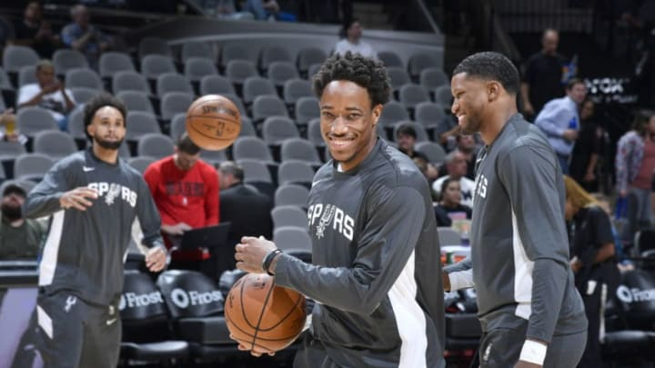SAN ANTONIO, TX - OCTOBER 28: DeMar DeRozan #10 of the San Antonio Spurs smiles before the game against the Portland Trail Blazers on October 28, 2019 at the AT&T Center in San Antonio, Texas. NOTE TO USER: User expressly acknowledges and agrees that, by downloading and or using this photograph, user is consenting to the terms and conditions of the Getty Images License Agreement. Mandatory Copyright Notice: Copyright 2019 NBAE (Photos by Logan Riely/NBAE via Getty Images)