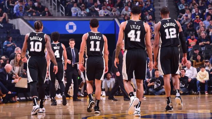 DeMar DeRozan, Bryn Forbes, Trey Lyles, and LaMarcus Aldridge of the San Antonio Spurs. (Photo by Noah Graham/NBAE via Getty Images)