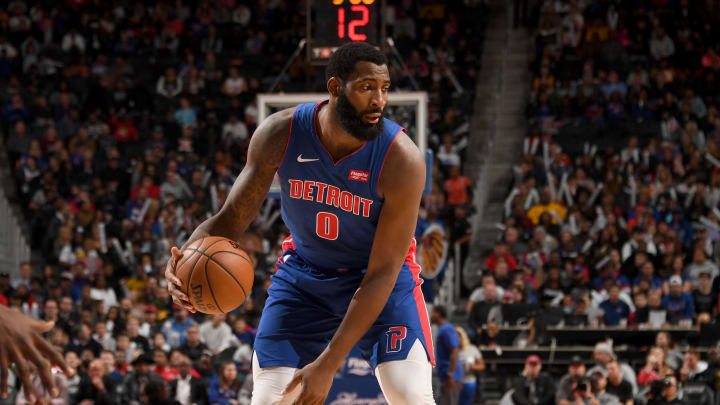 DETROIT, MI – NOVEMBER 2: Andre Drummond #0 of the Detroit Pistons handles the ball against the Brooklyn Nets on November 2, 2019 (Photo by Chris Schwegler/NBAE via Getty Images)
