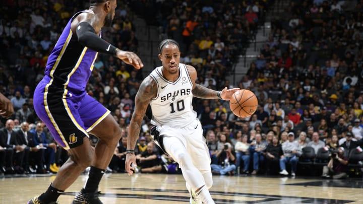 SAN ANTONIO, TX – NOVEMBER 3: DeMar DeRozan #10 of the San Antonio Spurs handles the ball against the Los Angeles Lakers on November 3, 2019 (Photos by Logan Riely/NBAE via Getty Images)