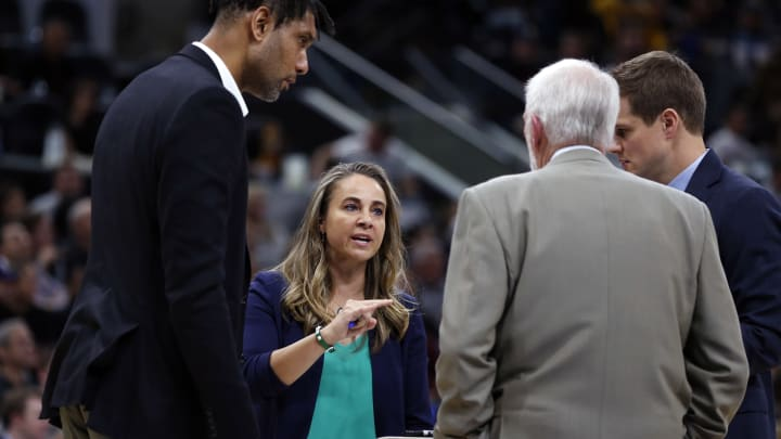 SAN ANTONIO,TX – NOVEMBER 03: Assistant coach Becky Hammon of the San Antonio Spurs makes a point to the rest of the coaches during the game against the Los Angeles Lakers at AT&T Center. (Photo by Ronald Cortes/Getty Images)