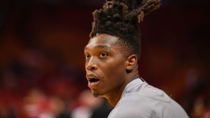 MIAMI, FLORIDA - OCTOBER 08: Lonnie Walker IV #1 of the San Antonio Spurs looks on before the preseason game against the Miami Heat at American Airlines Arena (Photo by Mark Brown/Getty Images)