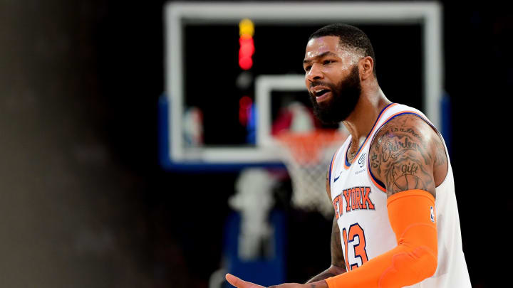 NEW YORK, NEW YORK – OCTOBER 11: Marcus Morris Sr. #13 of the New York Knicks reacts to a call during the third quarter of their game against the Wizards at Madison Square Garden (Photo by Emilee Chinn/Getty Images)