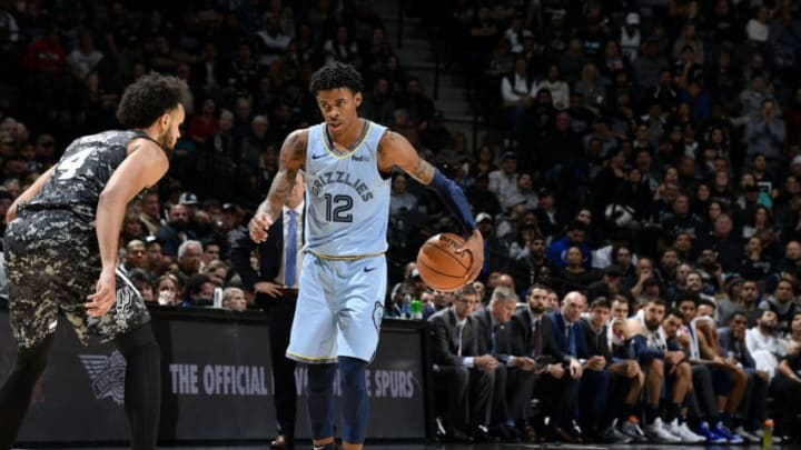 Ja Morant of the Memphis Grizzlies handles the ball against the San Antonio Spurs.(Photos by Logan Riely/NBAE via Getty Images)
