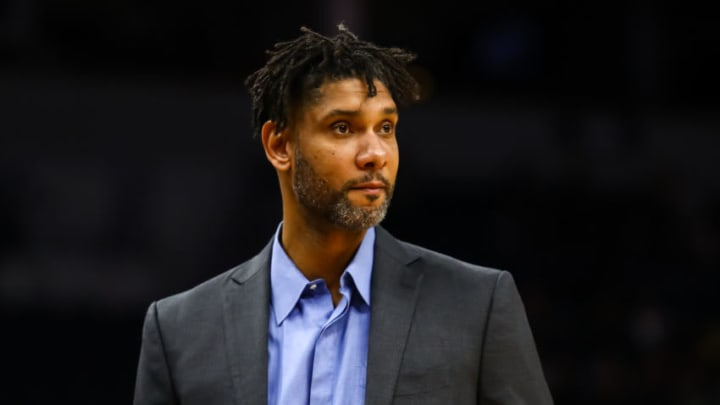 MINNEAPOLIS, MN - NOVEMBER 13: Tim Duncan of the San Antonio Spurs looks on prior to the start of a game against the Minnesota Timberwolves at Target Center on November 13, 2019 in Minneapolis, Minnesota. The Timberwolves defeated the spurs 129-114. NOTE TO USER: User expressly acknowledges and agrees that, by downloading and or using this Photograph, user is consenting to the terms and conditions of the Getty Images License Agreement. (Photo by David Berding/Getty Images)