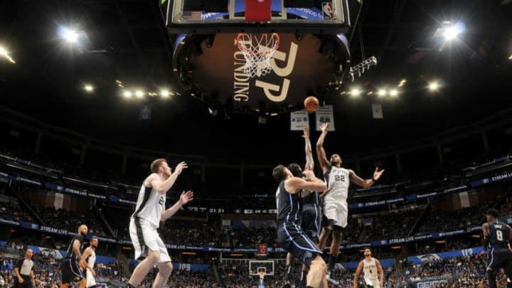 ORLANDO, FL - NOVEMBER 15: Rudy Gay #22 of the San Antonio Spurs shoots the ball against the Orlando Magic on November 15, 2019 at Amway Center in Orlando, Florida. NOTE TO USER: User expressly acknowledges and agrees that, by downloading and or using this photograph, User is consenting to the terms and conditions of the Getty Images License Agreement. Mandatory Copyright Notice: Copyright 2019 NBAE (Photo by Fernando Medina/NBAE via Getty Images)