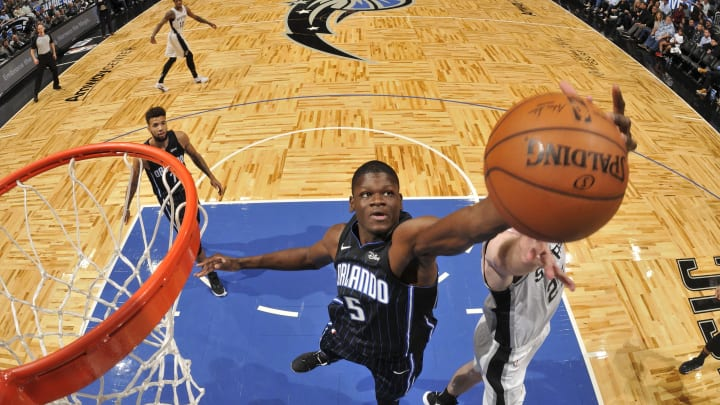 ORLANDO, FL – NOVEMBER 15: Mo Bamba #5 of the Orlando Magic rebounds the ball during the game against the San Antonio Spurs on November 15, 2019 at Amway Center (Photo by Fernando Medina/NBAE via Getty Images)