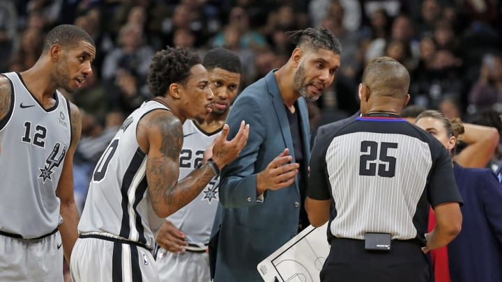 SAN ANTONIO, TX – NOVEMBER 16: The San Antonio Spurs players argue with referee Tony Brothers #25 after DeMar DeRozan #10 was called for a foul against the Trail Blazers at AT&T Center. (Photo by Ronald Cortes/Getty Images)