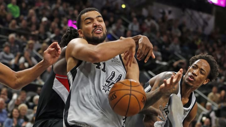 SAN ANTONIO, TX – NOVEMBER 16: Trey Lyles #41 of the San Antonio Spurs fights for a loose ball against the Portland Trail Blazers at AT&T Center (Photo by Ronald Cortes/Getty Images)