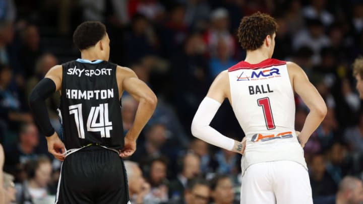 AUCKLAND, NEW ZEALAND - OCTOBER 24: Two great NBA Draft prospects - RJ Hampton of the Breakers and LaMelo Ball of the Hawks - during a round four NBL match at Spark Arena in Auckland, New Zealand. (Photo by Anthony Au-Yeung/Getty Images)