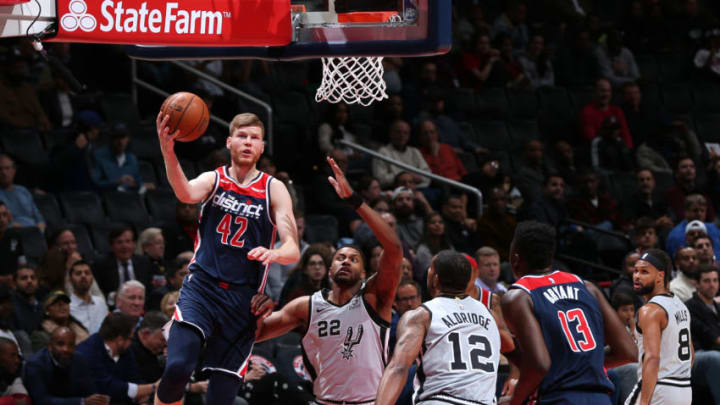 WASHINGTON, DC - NOVEMBER 20: Davis Bertans #42 of the Washington Wizards drives to the basket against the San Antonio Spurs on November 20, 2019 at Capital One Arena in Washington, DC. NOTE TO USER: User expressly acknowledges and agrees that, by downloading and or using this photograph, User is consenting to the terms and conditions of the Getty Images License Agreement. (Photo by Ned Dishman/NBAE via Getty Images)