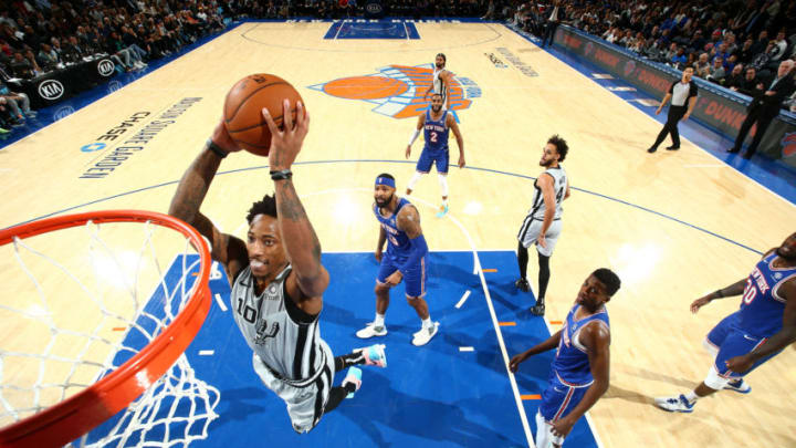 DeMar DeRozan of the San Antonio Spurs dunks the ball against the New York Knicks. (Photo by Nathaniel S. Butler/NBAE via Getty Images)