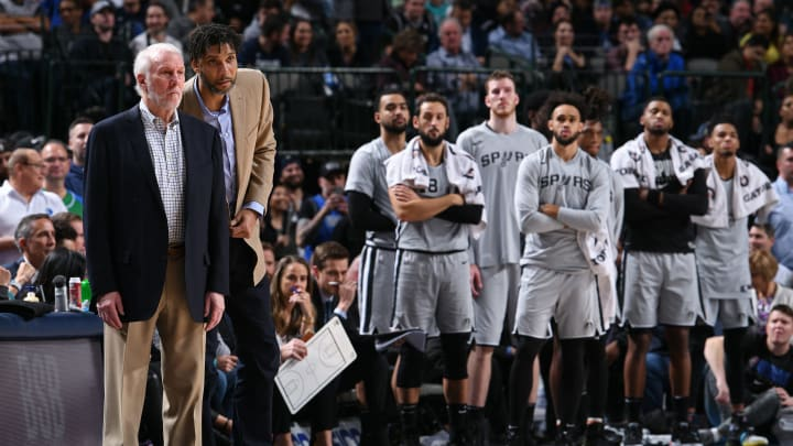 DALLAS, TX – NOVEMBER 18: Head Coach Gregg Popovich and Assistant Coach Tim Duncan of the San Antonio Spurs look on against the Dallas Mavericks on November 18, 2019 (Photo by Glenn James/NBAE via Getty Images)