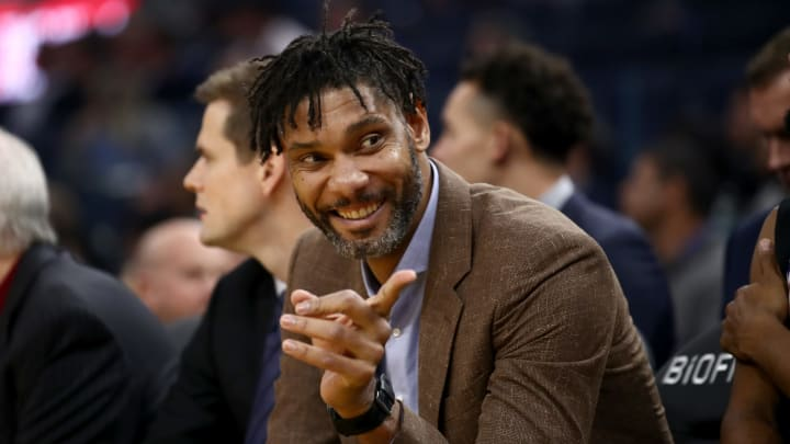 SAN FRANCISCO, CALIFORNIA – NOVEMBER 01: San Antonio Spurs assistant coach Tim Duncan sits on the bench during their game against the Golden State Warriors at Chase Center (Photo by Ezra Shaw/Getty Images)