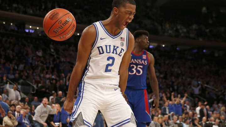 NEW YORK, NEW YORK – NOVEMBER 05: Cassius Stanley #2 of the Duke Blue Devils celebrates his dunk in the second half against the Kansas Jayhawks (Photo by Elsa/Getty Images)