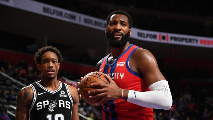 DETROIT, MI – DECEMBER 1: Andre Drummond #0 of the Detroit Pistons looks on during the game against the San Antonio Spurs on December 1, 2019 at Little Caesars Arena (Photo by Chris Schwegler/NBAE via Getty Images)