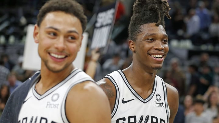 Lonnie Walker of the San Antonio Spurs celebrates with Bryn Forbes.(Photo by Ronald Cortes/Getty Images)