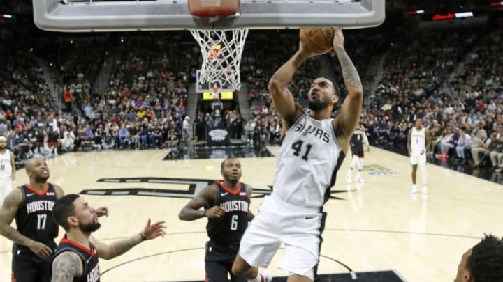 SAN ANTONIO, TX - DECEMBER 3: Trey Lyles #41 of the San Antonio Spurs scores against the Houston Rockets in the first half at AT&T Center on December 3, 2019 in San Antonio, Texas. NOTE TO USER: User expressly acknowledges and agrees that , by downloading and or using this photograph, User is consenting to the terms and conditions of the Getty Images License Agreement. (Photo by Ronald Cortes/Getty Images)