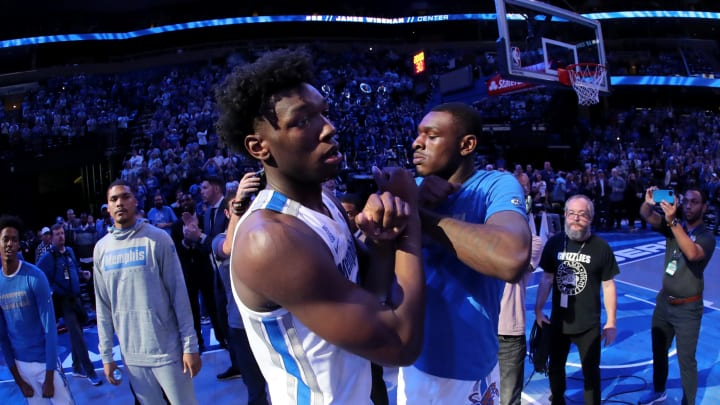 MEMPHIS, TN – NOVEMBER 5: James Wiseman #32, No. 2 in the 2020 NBA Mock Draft, and Lance Thomas #15 of the Memphis Tigers during introductions vs. the South Carolina State Bulldogs. (Photo by Joe Murphy/Getty Images)