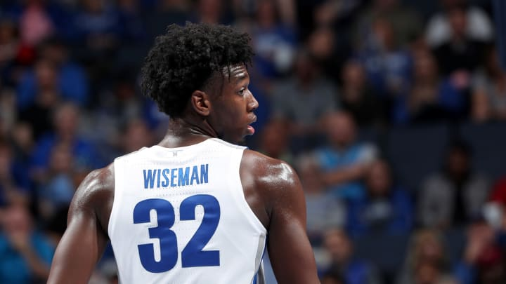 MEMPHIS, TN – NOVEMBER 5: James Wiseman #32 of the Memphis Tigers, a top NBA Draft prospect, looks on against the South Carolina State Bulldogs at FedExForum. (Photo by Joe Murphy/Getty Images)