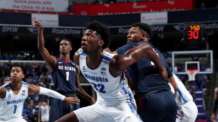 MEMPHIS, TN – NOVEMBER 5: NBA Draft James Wiseman #32 of the Memphis Tigers boxes out for a rebound against the South Carolina State Bulldogs at FedExForum. (Photo by Joe Murphy/Getty Images)