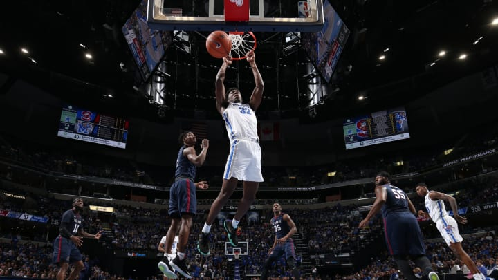 MEMPHIS, TN – NOVEMBER 5: James Wiseman #32 of the Memphis Tigers dunks the ball against the South Carolina State Bulldogs during a game on November 5, 2019 at FedExForum in Memphis, Tennessee. Memphis defeated South Carolina State 97-64. (Photo by Joe Murphy/Getty Images)
