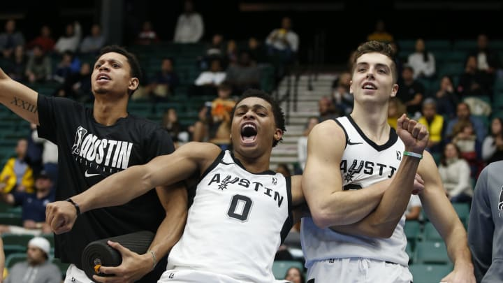 FRISCO, TX – DECEMBER 4: Keldon Johnson #0 of the Austin Spurs and Daulton Hommes #34 celebrate a basket during the fourth quarter against the Texas Legends (Photo by Tim Heitman/NBAE via Getty Images)