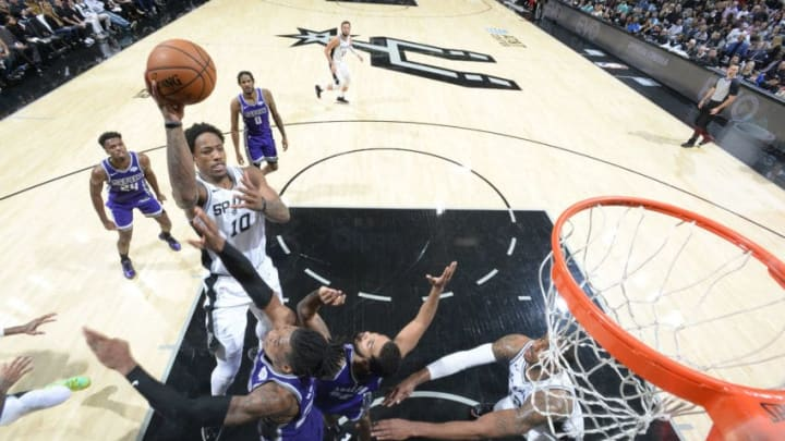 SAN ANTONIO, TX - DECEMBER 6: DeMar DeRozan #10 of the San Antonio Spurs shoots the ball against the Sacramento Kings on December 6, 2019 at the AT&T Center in San Antonio, Texas. NOTE TO USER: User expressly acknowledges and agrees that, by downloading and or using this photograph, user is consenting to the terms and conditions of the Getty Images License Agreement. Mandatory Copyright Notice: Copyright 2019 NBAE (Photos by Logan Riely/NBAE via Getty Images)