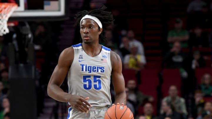 PORTLAND, OREGON - NOVEMBER 12: NBA Draft prospect Precious Achiuwa #55 of the Memphis Tigers, whose had discussions with the San Antonio Spurs, brings the ball up the court during the first half of the game against the Oregon Ducks at Moda Center on November 12, 2019 in Portland, Oregon. (Photo by Steve Dykes/Getty Images)