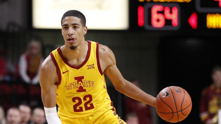 AMES, IA – NOVEMBER 12: Tyrese Haliburton #22 of the Iowa State Cyclones drives the ball in the second half of play at Hilton Coliseum on November 12, 2019, in Ames, Iowa. (Photo by David K Purdy/Getty Images)