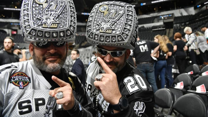 San Antonio Spurs fans seen prior to the game against the Houston Rockets. (Photos by Logan Riely/NBAE via Getty Images)