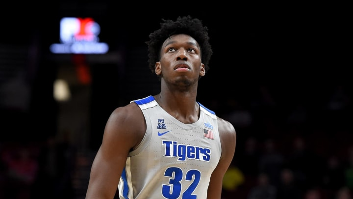 James Wiseman of the Memphis Tigers walks up court. (Photo by Steve Dykes/Getty Images)