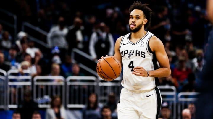 ORLANDO, FLORIDA – NOVEMBER 15: Derrick White #4 of the San Antonio Spurs charges up the court against the Orlando Magic in the third quarter at Amway Center (Photo by Harry Aaron/Getty Images)