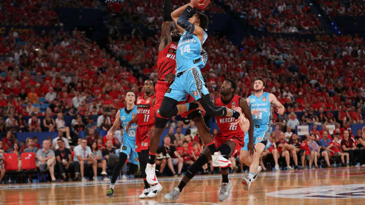 PERTH, AUSTRALIA – NOVEMBER 17: NBA Draft prospect R.J. Hampton lays up during the round seven NBL match between the Perth Wildcats and the New Zealand Breakers at RAC Arena. (Photo by Paul Kane/Getty Images)