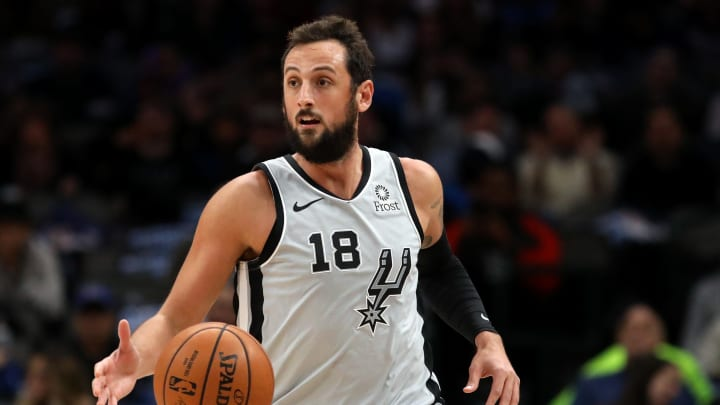 DALLAS, TEXAS – NOVEMBER 18: Marco Belinelli #18 of the San Antonio Spurs at American Airlines Center (Photo by Ronald Martinez/Getty Images)