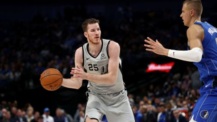 DALLAS, TEXAS - NOVEMBER 18: Jakob Poeltl #25 of the San Antonio Spurs at American Airlines Center on November 18, 2019 in Dallas, Texas. NOTE TO USER: User expressly acknowledges and agrees that, by downloading and or using this photograph, User is consenting to the terms and conditions of the Getty Images License Agreement. (Photo by Ronald Martinez/Getty Images)