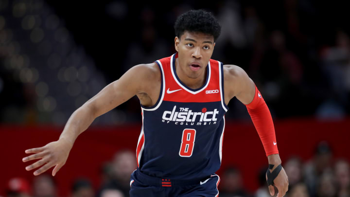 WASHINGTON, DC – NOVEMBER 20: Rui Hachimura #8 of the Washington Wizards runs up the floor against the San Antonio Spurs in the first half at Capital One Arena (Photo by Rob Carr/Getty Images)