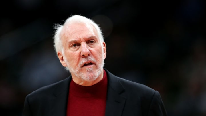 WASHINGTON, DC - NOVEMBER 20: Head coach Gregg Popovich of the San Antonio Spurs talks win an official in the first half against the Washington Wizards at Capital One Arena on November 20, 2019 in Washington, DC. NOTE TO USER: User expressly acknowledges and agrees that, by downloading and/or using this photograph, user is consenting to the terms and conditions of the Getty Images License Agreement. (Photo by Rob Carr/Getty Images)