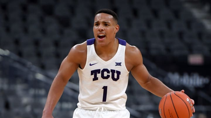 LAS VEGAS, NEVADA – NOVEMBER 24: NBA Draft prospect Desmond Bane #1 of TCU brings the ball up against Clemson during the MGM Resorts Main Event tournament at T-Mobile Arena. (Photo by Ethan Miller/Getty Images)