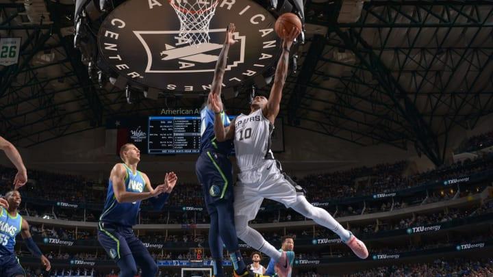 DALLAS, TX – DECEMBER 26: DeMar DeRozan #10 of the San Antonio Spurs shoots the ball against the Dallas Mavericks on December 26, 2019 (Photo by Glenn James/NBAE via Getty Images)