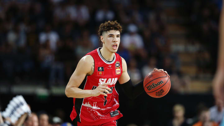 LaMelo Ball of the Hawks in action during the round 9 NBL match between the New Zealand Breakers and the Illawarra Hawks. (Photo by Anthony Au-Yeung/Getty Images)