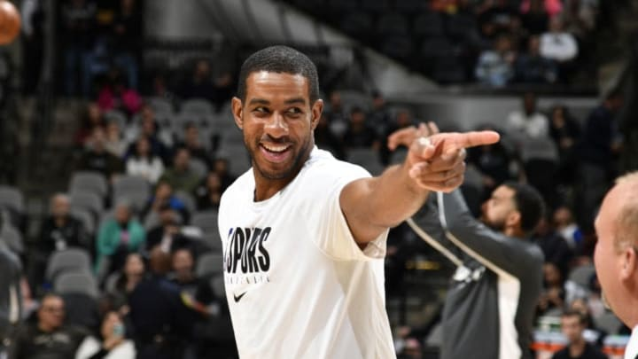 SAN ANTONIO, TX - DECEMBER 31: LaMarcus Aldridge #12 of the San Antonio Spurs smiles before the game against the Golden State Warriors on December 31, 2019 at the AT&T Center in San Antonio, Texas. NOTE TO USER: User expressly acknowledges and agrees that, by downloading and or using this photograph, user is consenting to the terms and conditions of the Getty Images License Agreement. Mandatory Copyright Notice: Copyright 2019 NBAE (Photos by Logan Riely/NBAE via Getty Images)