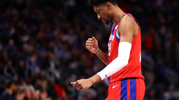 DETROIT, MICHIGAN – DECEMBER 01: Christian Wood #35 of the Detroit Pistons reacts to his second half three point basket while playing the San Antonio Spurs at Little Caesars Arena (Photo by Gregory Shamus/Getty Images)