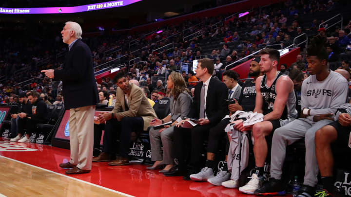 DETROIT, MICHIGAN – DECEMBER 01: Head coach Gregg Popovich of the San Antonio Spurs looks on from the bench while playing the Detroit Pistons at Little Caesars Arena (Photo by Gregory Shamus/Getty Images)