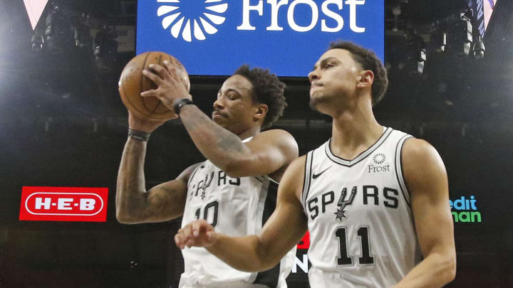 SAN ANTONIO, TX – JANUARY 2: DeMar DeRozan #10 of the San Antonio Spurs and Bryn Forbes #11 react after an Oklahoma City Thunder basket at AT&T Center on January 2, 2020 (Photo by Ronald Cortes/Getty Images)